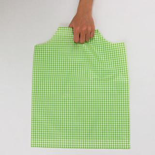 ■ギンガムチェックのビニール手提げ袋のライトグリーン。左の写真ではうま... 手提げ袋ビニールL